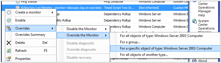 Monitoring Robocopy logfiles with Operations Manager 2007
