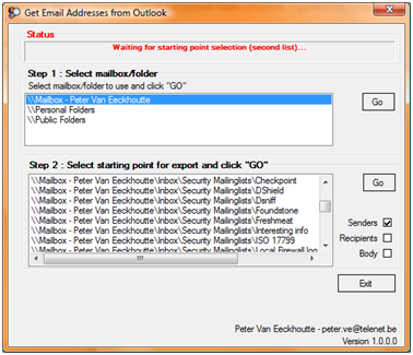Free tool – Extracting email addresses from Outlook mail